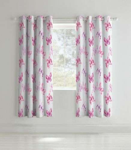 Catherine Lansfield Butterfly Pink Eyelet Curtains